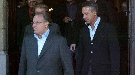 La producteur de télévision Gérard Louvin et son mari Daniel Moyne le 20 juin 2003 à Paris (image d'illustration).