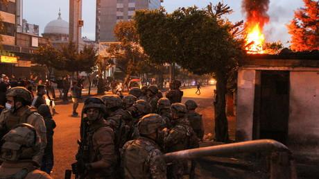 Manifestation à Tripoli, au Liban, le soir du 26 janvier.