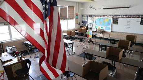 Une salle de classe de l'école Saint Benedict, près de Los Angeles, le 14 juillet 2020 (image d'illustration)