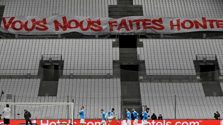 Une banderole manifestait la colère des supporters marseillais au stade Vélodrome, le 20 janvier 2021 (image d'illustration).
