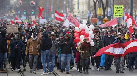Manifestation à Vienne (Autriche), le 31 janvier 2021.