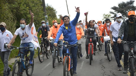 Andrés Arauz, candidat à la présidentielle en Equateur pour le parti «Union por la Esperanza»,  à Quito, le 26 janvier 2021.