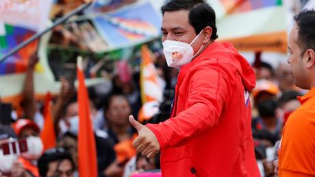 Le candidat à la présidentielle Andrés Arauz lors de son rassemblement de clôture de campagne à Quito (Equateur), le 4février 2021.
