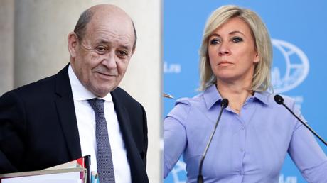 A gauche, le chef de la diplomatie française Jean-Yves Le Drian ; à droite, la porte-parole de la diplomatie russe, Maria Zakharova.