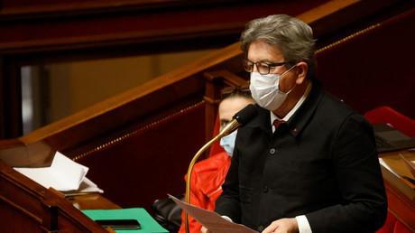 Le chef de la France Insoumise (LFI) et député Jean-Luc Mélenchon, intervient  à l'occasion d'une séance de questions au gouvernement le 9 février 2021 à l'Assemblée Nationale.