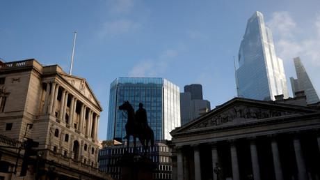 Vue générale montrant la Banque d'Angleterre au cœur  du quartier financier de la ville de Londres, en Grande-Bretagne, le 5 novembre 2020 (illustration).