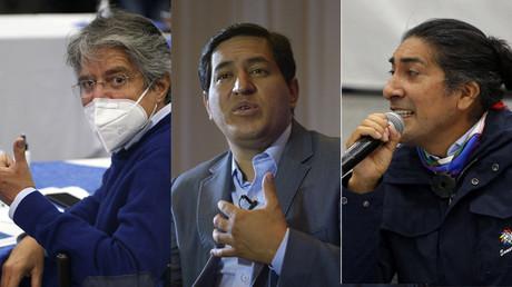 Collage photos : Guillermo Lasso, Andrés Arauz, Yaku Pérez, candidats à la présidentielle en Equateur.