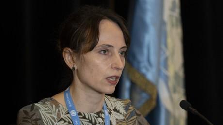 La Biélorusse Alena Douhan, rapporteur spécial de l'ONU sur l'impact négatif des mesures coercitives unilatérales sur les droits de l'Homme, lors d'une conférence de presse à Caracas, le 12 février 2021.
