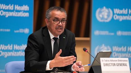 Le directeur général de l'OMS Tedros Adhanom Ghebreyesus lors d'une conférence de presse à Genève, le 12 février 2021 (image d'illustration).