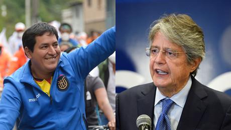 Les deux candidats qualifiés pour le second tour de l'élection présidentielle en Equateur : Andrés Arauz (gauche) / Guillermo Lasso (droite).