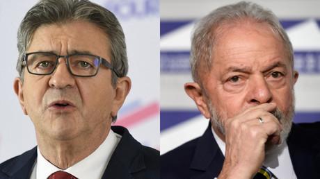 Le chef de file de la France Insoumise, Jean-Luc Mélenchon (gauche) et l'ancien président du Brésil Lula (droite).