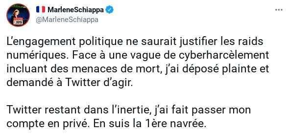 Cible de «raids numériques», Marlène Schiappa porte plainte et passe son compte Twitter en privé