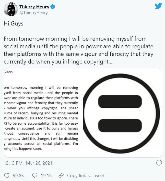 «Torture mentale»: Thierry Henry quitte les réseaux sociaux à cause de la haine qui y règne