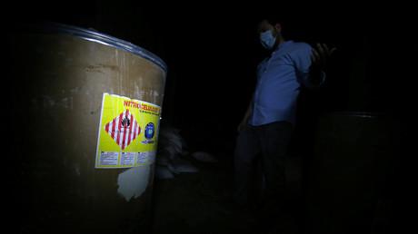 Des produits chimiques entreposés au sein d'une ancienne position tenue par des groupes rebelles, à Douma, près de Damas en Syrie, le 23 avril 2018 (illustration).