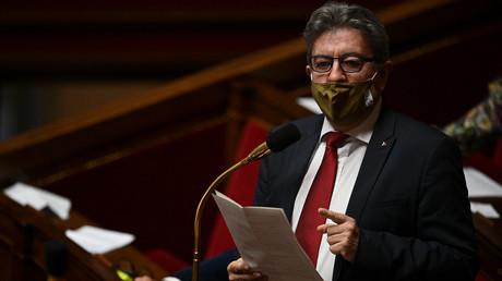 Le chef de La France Insoumise, Jean-Luc Mélenchon, participe à une séance de questions au gouvernement à l'Assemblée nationale, le 20 octobre 2020.