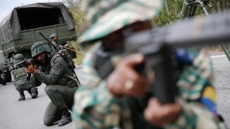 Le 15 février 2020, des soldats vénézuéliens participent à des exercices militaires à Caracas (image d'illustration).