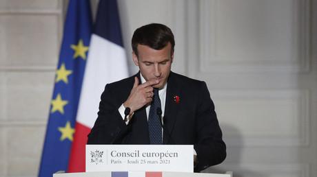 Emmanuel Macron lors de la conférence du 25 mars 2021, à Paris.