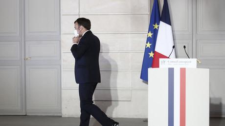 Emmanuel Macron à l'issue de la conférence de presse, le 25 mars 2021, à Paris.