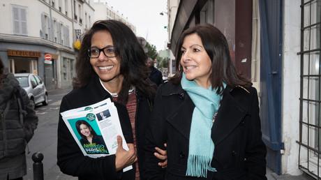 Audrey Pulvar faisant campagne lors des municipales à Paris pour Anne Hidalgo en février 2020 (image d'illustration).
