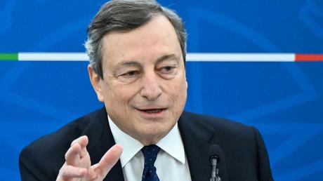 Mario Draghi lors d'une conférence de presse à Rome, en Italie, le 19 mars 2021 (image d'illustration).