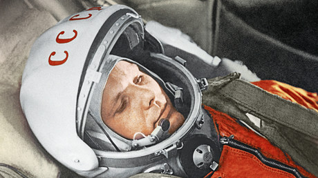 Iouri Gagarine avant le vol spatial Vostok-1, le 12 avril 1961.