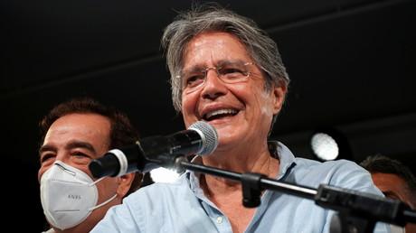 Guillermo Lasso après l'annonce de sa victoire, à Guayaquil, en Equateur, le 11 avril 2021.