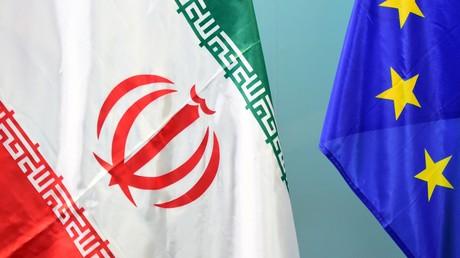 Les drapeaux de l'Iran et de l'Union européenne (image d'illustration).