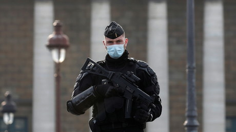 Un gendarme sécurise les abords de l'Assemblée nationale à Paris le 24 novembre 2020 (image d'illustration).