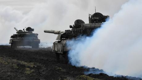 Exercice militaire ukrainien à la frontière russe, le 14 avril 2021.