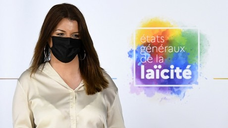 Marlène Schiappa lors de l'ouverture des états généraux de la laïcité au Conservatoire national des arts et métiers (Cnam), le 20 avril 2021 à Paris.