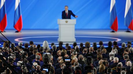 Le discours de Vladimir Poutine devant l'Assemblée Fédérale en 2020 (image d'illustration).