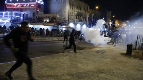Affrontements entre la police israélienne et des manifestants palestiniens à Jérusalem, le 22 avril 2021.