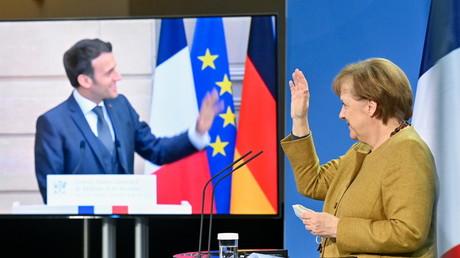 En façade l'entente, en coulisses, une lutte oppose Emmanuel Macron et Angela Merkel sur le dossier nucléaire (image d'illustration).