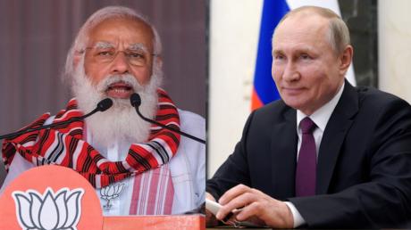 Le Premier ministre indien Narendra Modi et le président russe Vladimir Poutine (montage d'illustration).