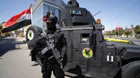 Des membres du Service irakien de lutte contre le terrorisme (ICTS) sont déployés dans les rues de la capitale Bagdad le 27 mars 2021 (image d'illustration).