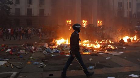 La Maison des syndicats d'Odessa lors de l'incendie du bâtiment qui a coûté la vie à 48 personnes, le 2 mai 2014 (image d'illustration).