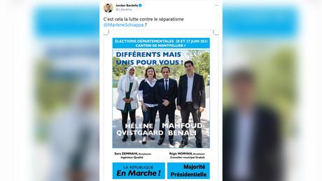 L'affiche de campagne d'Hélène Qvistgaard et de Mahfoud Benali, candidats LREM pour les élections départementales dans le canton de Montpellier 1.