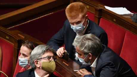 Les députés LFI Jean-Luc Mélenchon, Adrien Quatennens et Alexis Corbière, le 21 juillet 2020 à l'Assemblée nationale à Paris (image d'illustration).