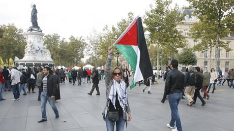 Une manifestante pro-Palestine place de la République, à Paris, le 10 octobre 2015 (image d'illustration)