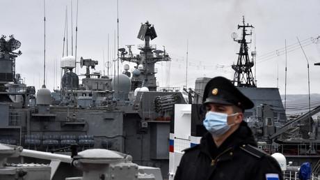 Des navires de guerre russes à leur base arctique de Severomorsk, le 13 mai 2021.