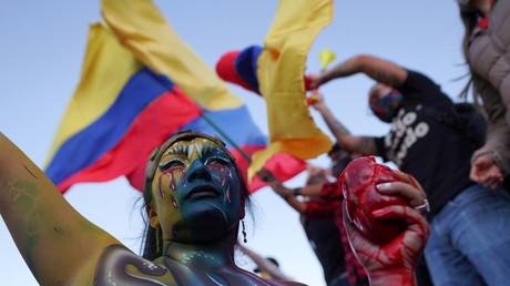 Manifestation contre le gouvernement à Bogota, Colombie le 19 mai 2021.