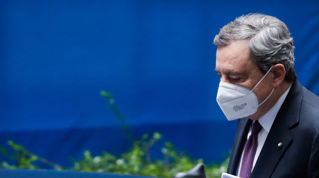 Mario Draghi quittant le Conseil européen qui s'est tenu les 24 et 25 mai 2021 (image d'illustration).