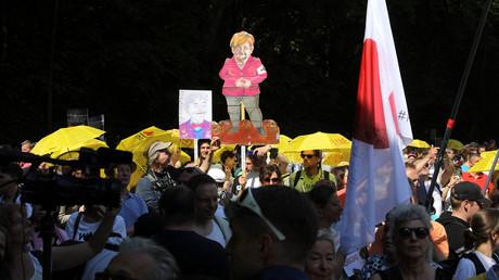 Les manifestants au Bois de la Cambre le 29 mai 2021.