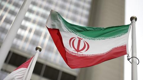 Le drapeau iranien flotte devant l'immeuble le siège de l'AIEA, à Vienne, Autriche, le 24 mai 2021 (illustration).