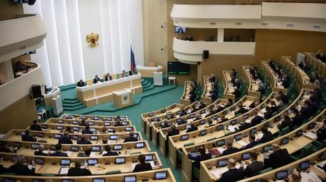 Le Conseil de la Fédération russe à Moscou, photographiée lors d'une session plénière le 17 avril 2020 (image d'illustration).
