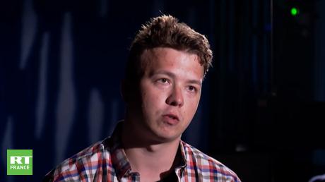 Le journaliste et opposant Roman Protassevitch, interviewé par la chaîne publique biélorusse ONT,