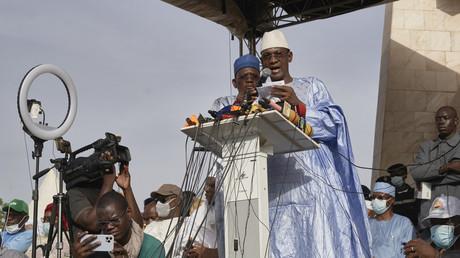 Choguel Kokalla Maiga lors d'un rassemblement à Bamako le 4 juin 2021