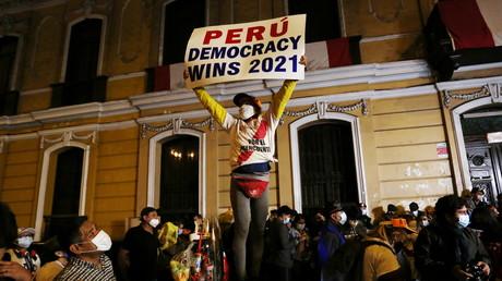 Des partisans de Keiko Fuimori le 6 juin 2021 à Lima au Pérou (image d'illustration).