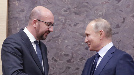 Le président de la Fédération de Russie Vladimir Poutine avec le Premier ministre belge Charles Michel le 31 janvier 2018 à Moscou (image d'illustration).