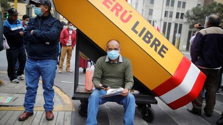 Un partisan du candidat présidentiel du Pérou Pedro Castillo, le 6 juin, à Lima, Pérou, le 8 juin 2021 (image d'illustration).